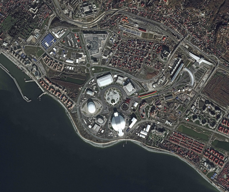 A satellite view, released by Airbus Defence and Space, of the Olympic Park in the Russian Black Sea resort of Sochi. The Olympic Park will be able to accommodate about 75,000 visitors when full, and all the ice arenas will be within walking distance of one other. Sochi will host the 2014 Winter Olympics that start on Feb. 7.