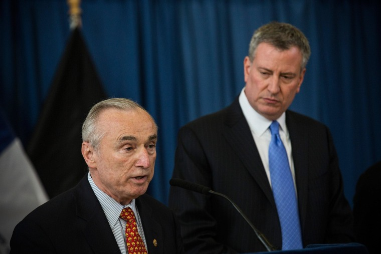 "New York City Police Commissioner Bill Bratton and New York City Mayor Bill De Blasio speak a press conference to announce the city will not appeal a judge's ruling that the police tactic ""Stop-and-Frisk"" is unconstitutional. The previous mayor, Michael Bloomberg, staunchly defended the tactic."
