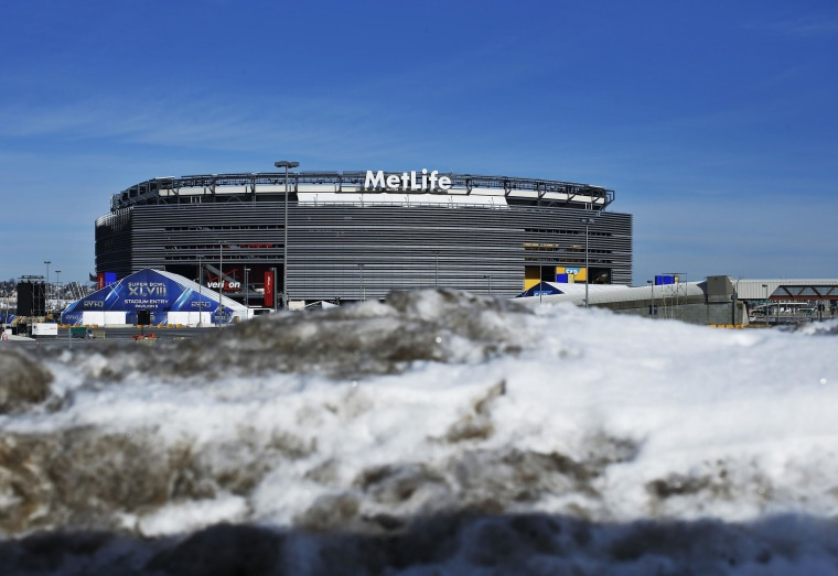 Image: Snow is seen near the Metlife in East Rutherford, New Jersey