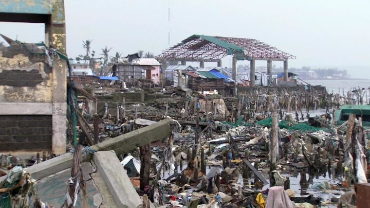 Destroyed buildings in Tacloban almost three months after Typhoon Haiyan.