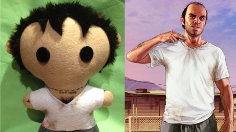"""""""Grand Theft Auto V"""" plushie Trevor and the """"real' Trevor from the game."""
