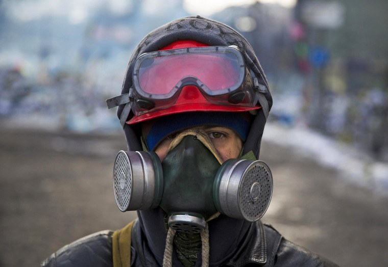 Image: An anti-government protester wearing a gas mask poses for a portrait at the barricades in Kiev