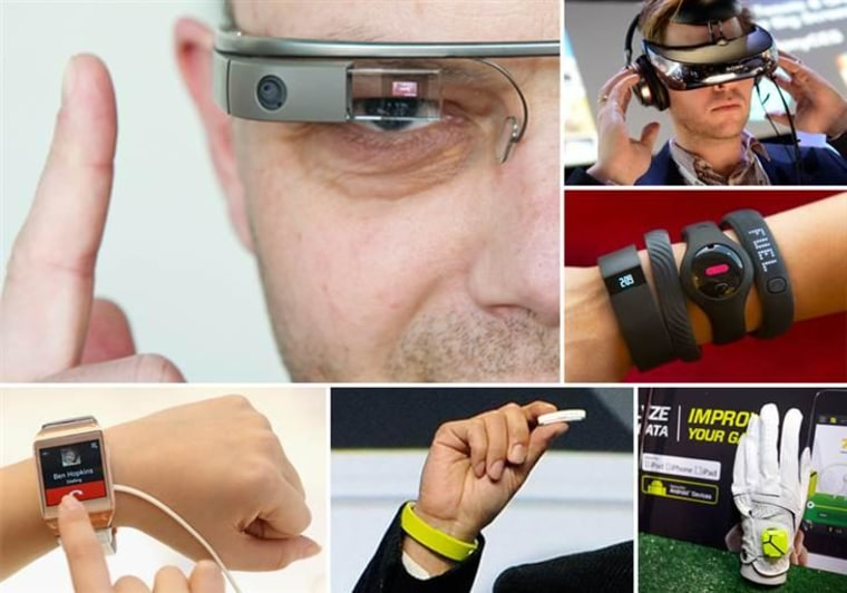 Clockwise from top left: Google Glass, Sony Head Mounted Display, various fitness trackers, Zepp sensor, Sony Smartband and Core and Samsung Galaxy Gear.
