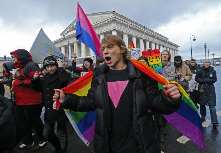 "Gay activists take part in a protest event called ""March against Hatred"" in St. Petersburg"