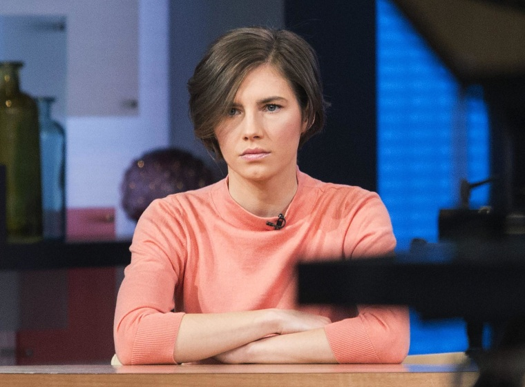 "Image: Amanda Knox sits before being interviewed on the set of ABC's ""Good Morning America"" in New York"