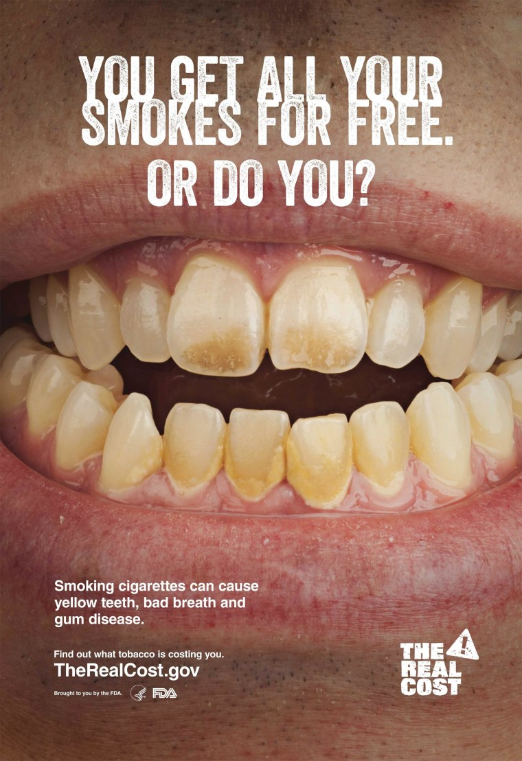 Image: Undated handoput image shows an anti-smoking poster issued by the U.S. FDA