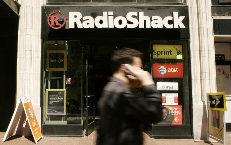 A man walks past a RadioShack retail store on Market Street in San Francisco