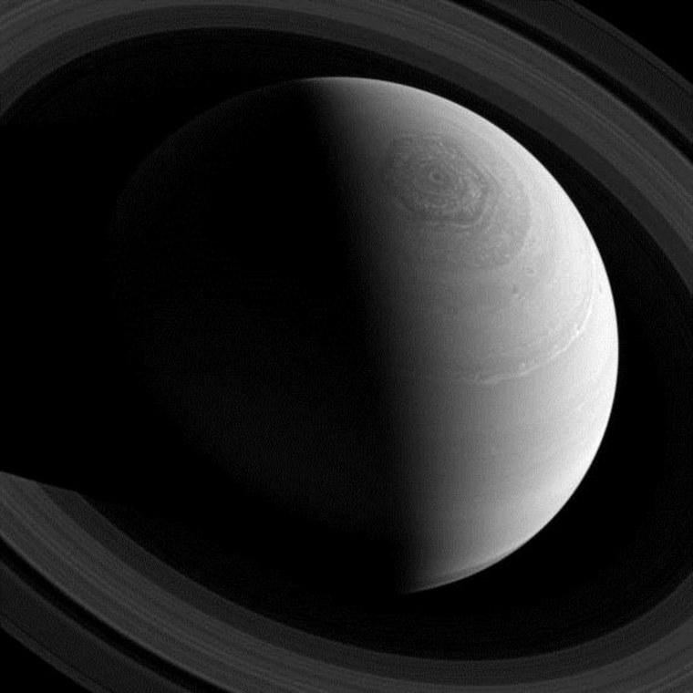 Saturn's odd hexagonal jet stream swirls in this amazing photo taken by the Cassini spacecraft.