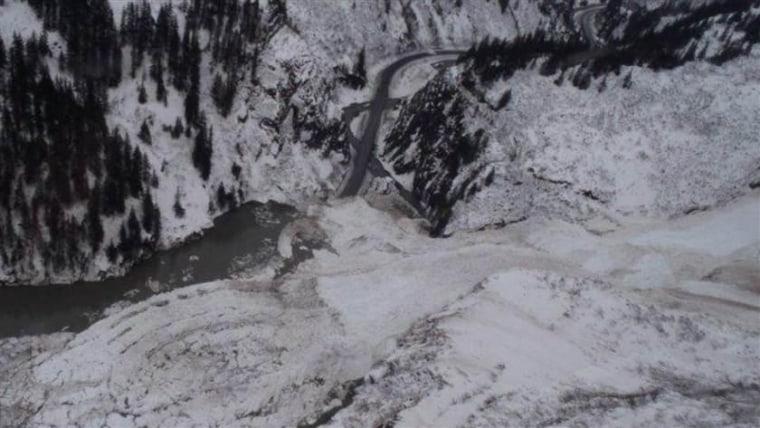 Avalanche debris covers a 50 mile stretch of road outside Valdez, Alaska