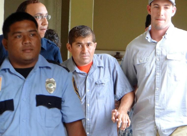 Jose Salvador Alvarenga of El Salvadore arrives at a press conference in Majuro on Thursday.