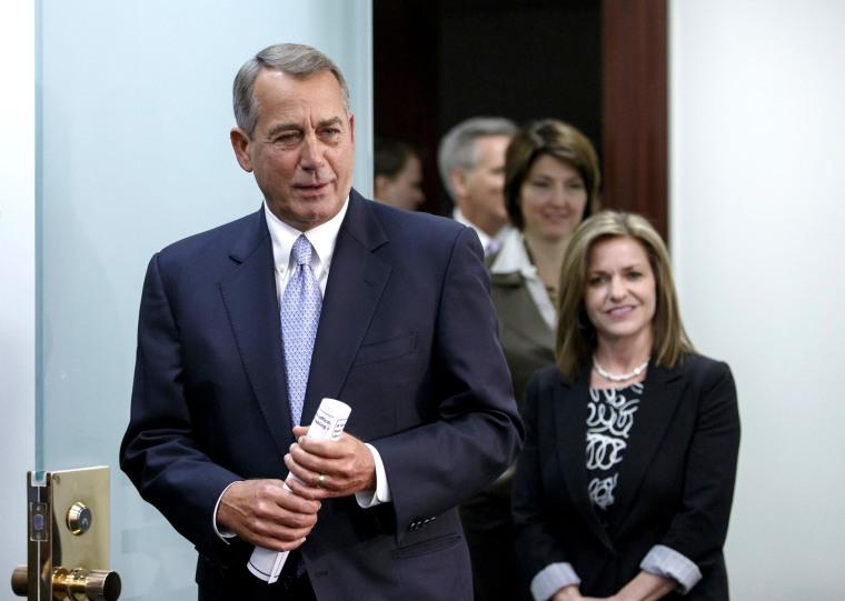 Image: House Speaker John Boehner of Ohio, left, followed by Rep. Lynn Jenkins, R-Kansas, and  Rep. Cathy McMorris Rodgers, R-Wash., and House Majority Whip Kevin McCarthy of Calif.