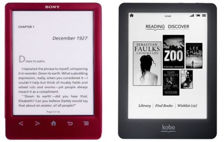 Users of Sony's Reader series of e-readers, left, may eventually need to upgrade to a Kobo, right.