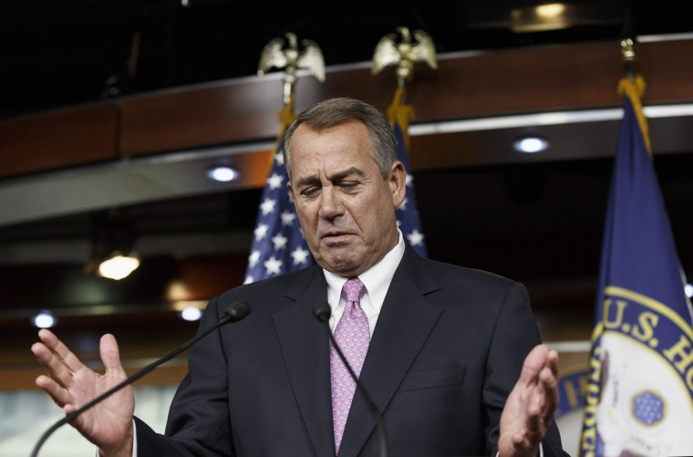 House Speaker John Boehner, R-Ohio, gestures during a news conference on Capitol Hill in Washington, Thursday, Feb. 6, 2014. Boehner said it will be difficult to pass immigration legislation this year, dimming prospects for one of President Barack Obama's top domestic priorities.