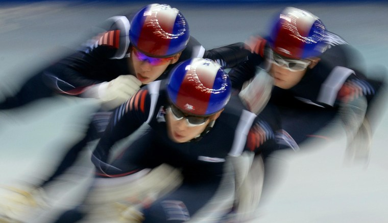 Image: South Korea's short track team practices during a training session