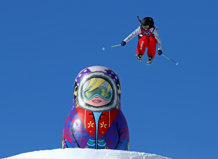 Image: Keri Herman of the United States practices during a Ski Slopestyle official training session