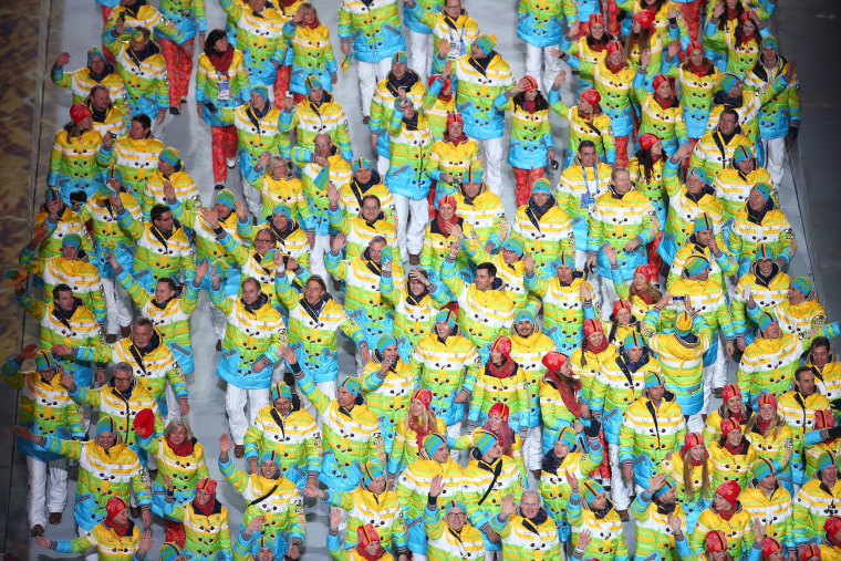 The Germany Olympic team enters Fisht Olympic Stadium stadium during the Opening Ceremony of the Sochi 2014 Winter Olympics on Feb. 7.