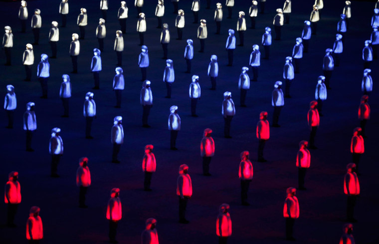 Image: A general view shows the opening ceremony of the 2014 Sochi Winter Olympics