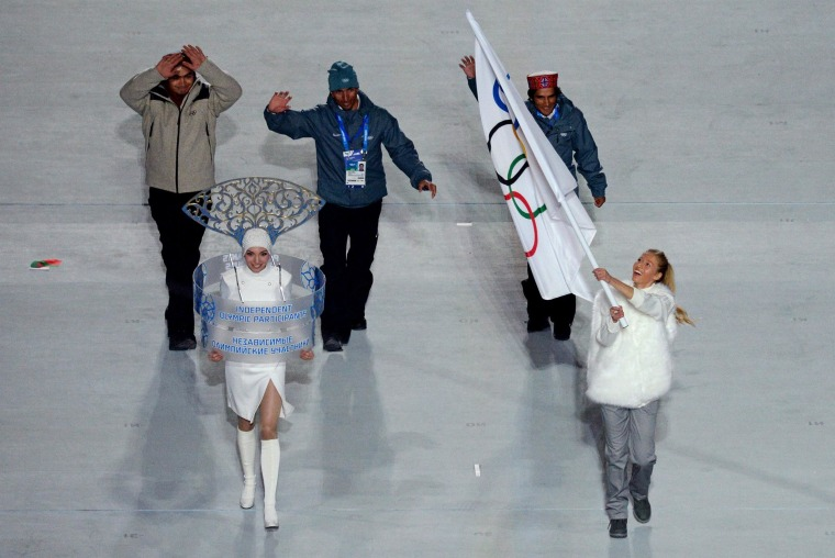 Image: Independent Olympic Participants (IOP) enter during the Opening Ceremony of the Sochi Winter Olympics