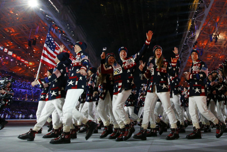 Image: Delegation members of the U.S. parade during the opening ceremony of the 2014 Sochi Winter Olympic Games at Fisht stadium