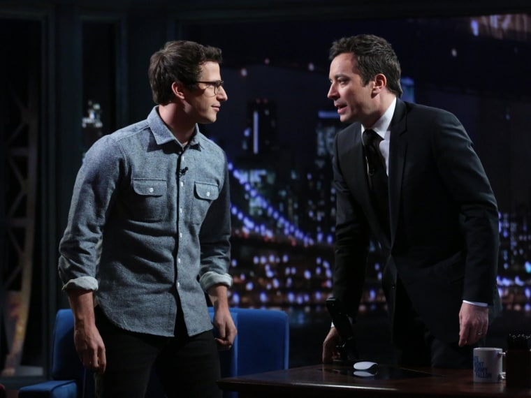 Image: Andy Samberg joins Jimmy Fallon for Fallon's last Late Night show