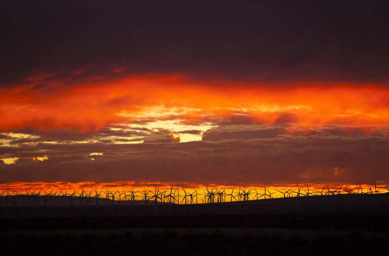 Image: The same atmosphere that makes Mojave an ideal location for test flights also provides for stunning sunsets and enough wind to support hundreds of windmills.