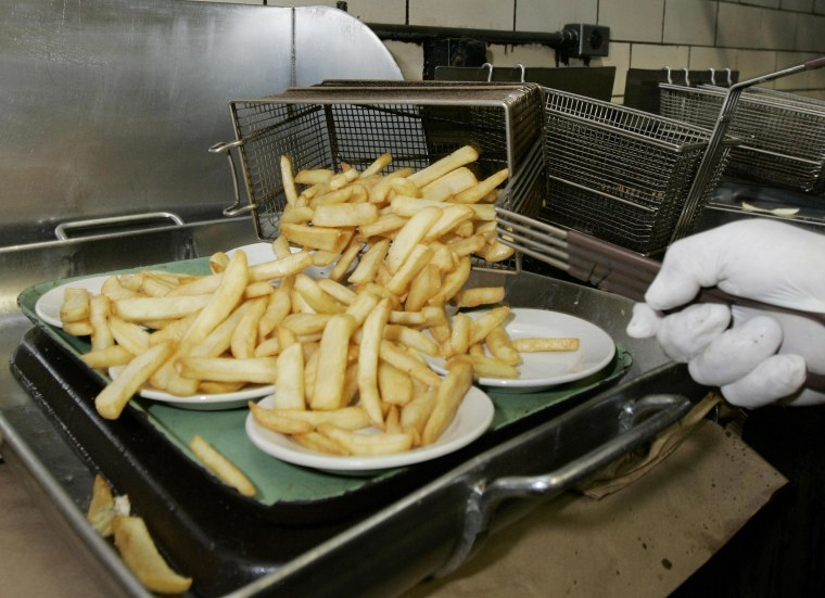 Image: French fried potatoes cooked in trans fa