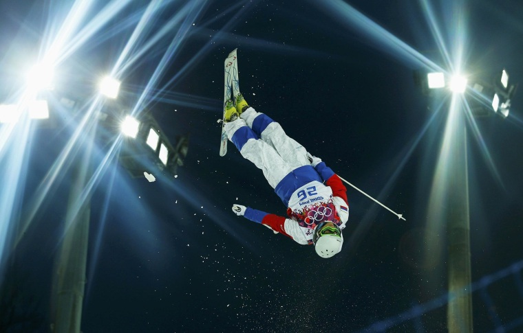 Russia's Sergey Volkov performs a jump during the men's freestyle skiing moguls qualification round at the 2014 Sochi Winter Olympic Games in Rosa Khutor on Feb. 10.