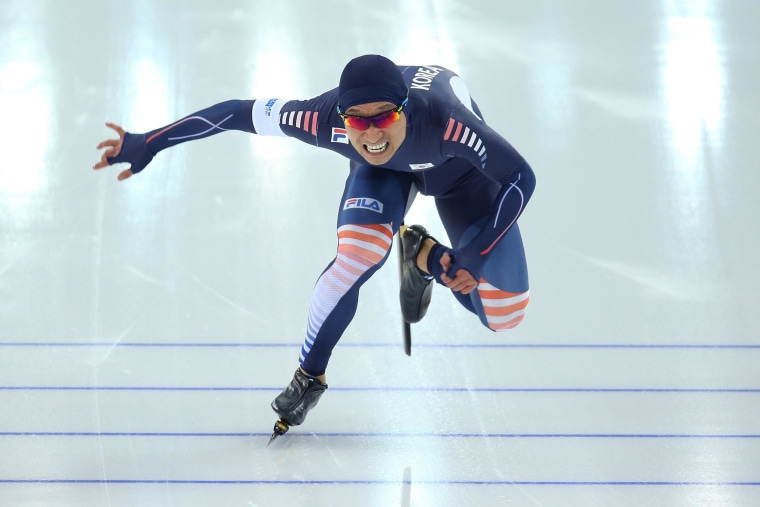 Lee Kyou-Hyuk of South Korea competes during the Men's 500m Race 2 of 2 Speed Skating event during day 3 of the Sochi 2014 Winter Olympics at Adler Arena Skating Center on Feb. 10.