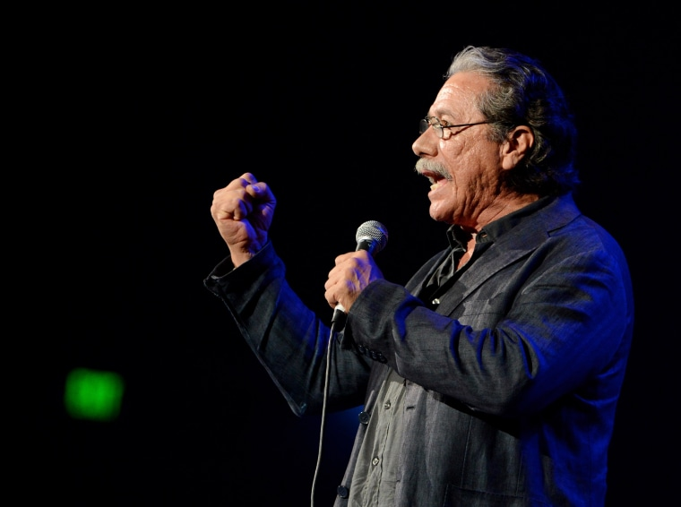 "In this October 2012 photo, actor Edward James Olmos speaks at a ""No On Proposition 32"" concert in L.A. The National Hispanic Media Coalition will be awarding Olmos for his civil rights and Latino advocacy."