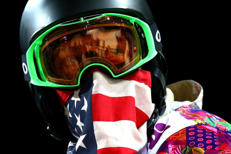 Shaun White of the United States looks on after a practice run before the Snowboard Men's Halfpipe Finals on day four of the Sochi 2014 Winter Olympics at Rosa Khutor Extreme Park on Feb. 11.