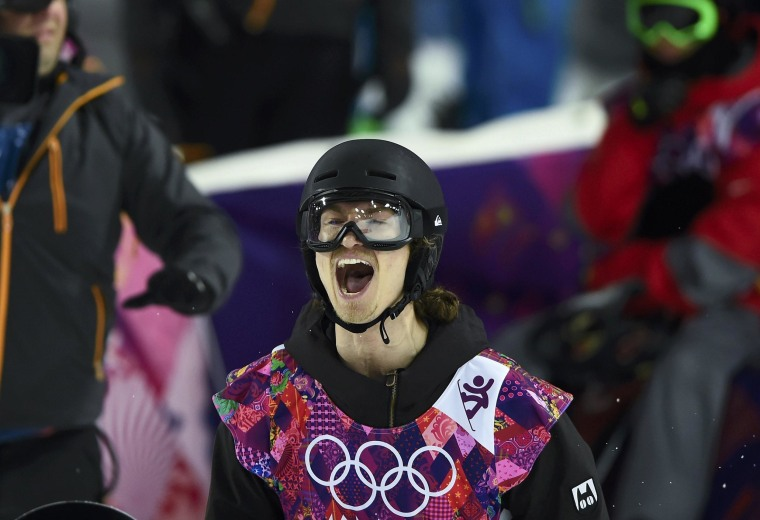 Image: Switzerland's Podladtchikov reacts during the men's snowboard halfpipe final event at the 2014 Sochi Winter Olympic Games, in Rosa Khutor
