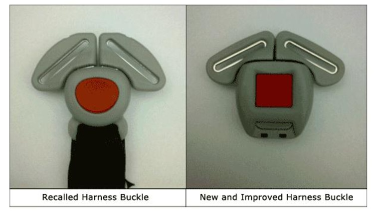 Image: Recalled buckle and improved buckle