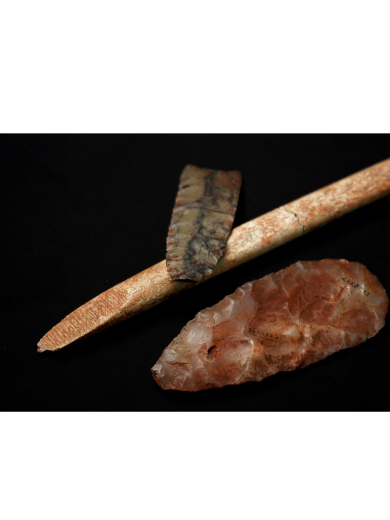 """This narrow point, the wider """"biface"""" made of quartz, and bone rod were among 125 tools found in Anzick-1's grave. They are typical of tools found in Clovis sites all across the US."""