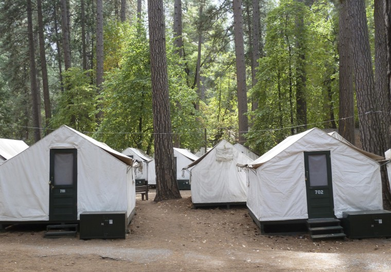 Image: A view of the locked tents in the Curry Village section of Yosemite National Park in California