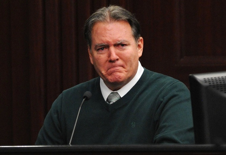 Image: Defendant Michael Dunn reacts on the stand during testimony in his own defense on Tuesday.