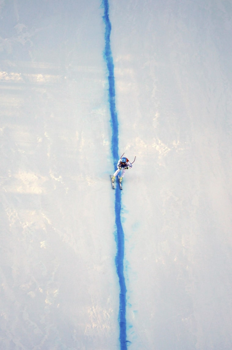 Image: Austria's Mayer skis during the downhill run of the men's alpine skiing super combined training session at the 2014 Sochi Winter Olympics