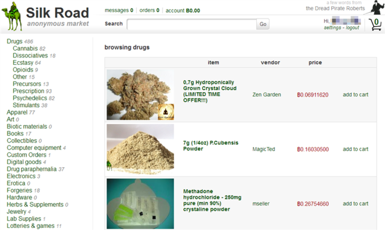 The Silk Road interface, showing drugs and other illegal goods for sale.