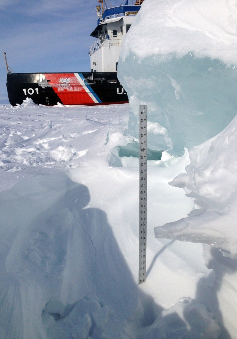 Image: U.S. Coast Guard yardstick measures ice in Straits of Mackinac on Feb. 5