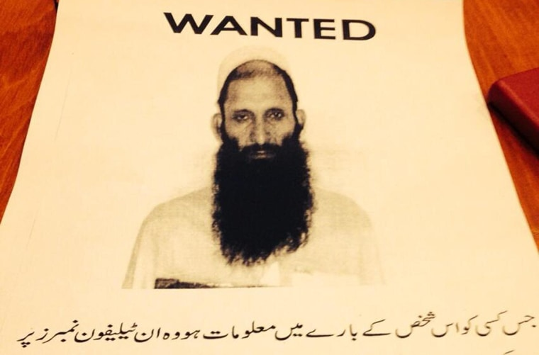 """Wanted poster of """"Top Commander"""" of TTP in Karachi, Pakistan."""