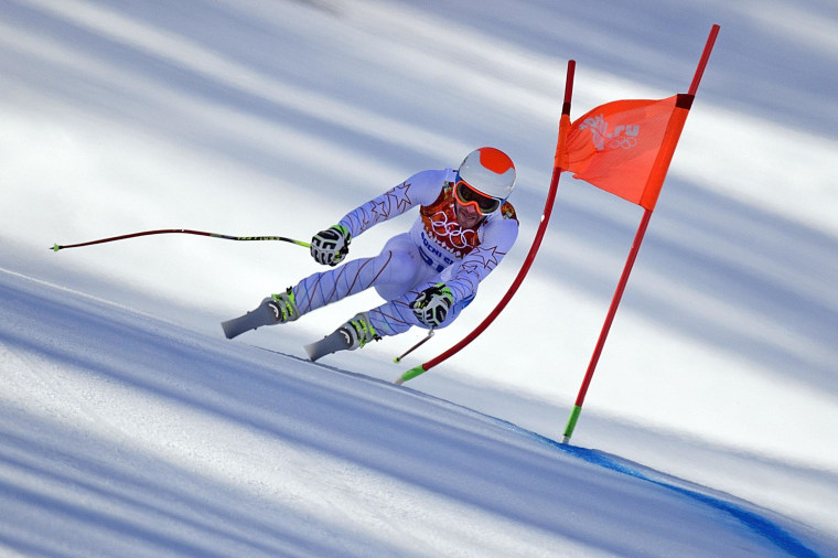 US skier Bode Miller competes during the Men's Alpine Skiing Super Combined Downhill at the Rosa Khutor Alpine Center on February 14, 2014.