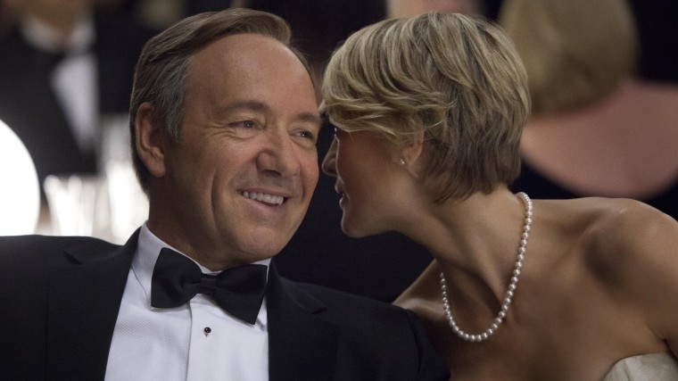 "Claire (Robin Wright) and Frank Underwood (Kevin Spacey) on ""House of Cards."""