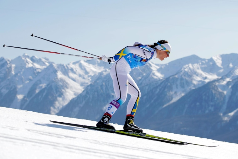 Charlotte Kalla of Sweden competes on the fourth leg in the Women's 4 x 5 km Relay during day eight of the Sochi 2014 Winter Olympics.