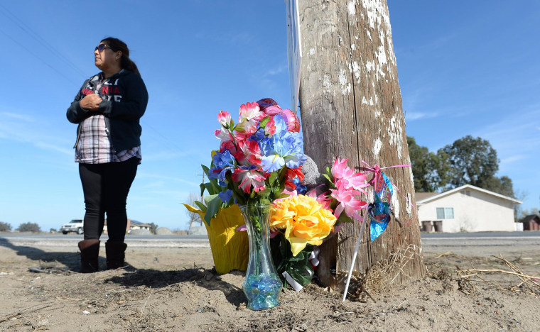 Blanca Amezola, a friend of the family that was killed near Riverdale, stopped by the accident site at the corner of 22nd Ave. and Excelsior Ave. on Feb. 16 to view the shrine of flowers and photos placed there.