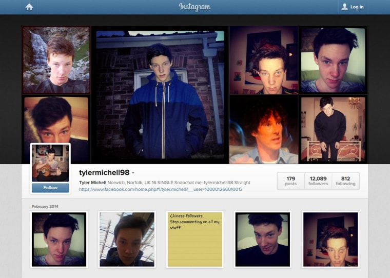 Image: Screen shot of the Instagram profile of tylermichell98.
