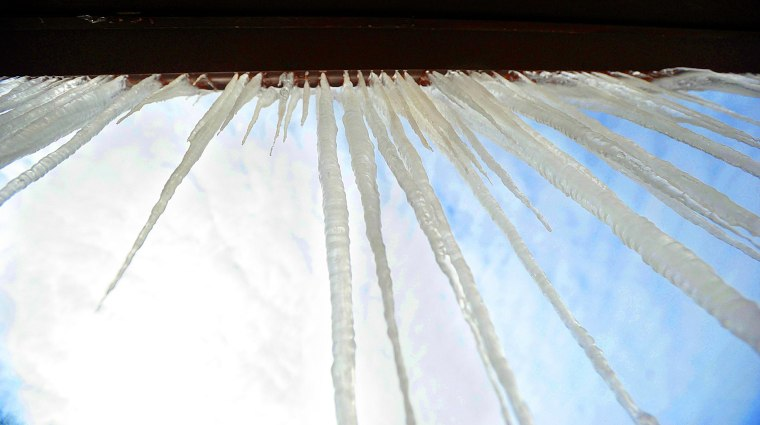 Image: Icicles on a VFW post in St. Joseph, Mo.