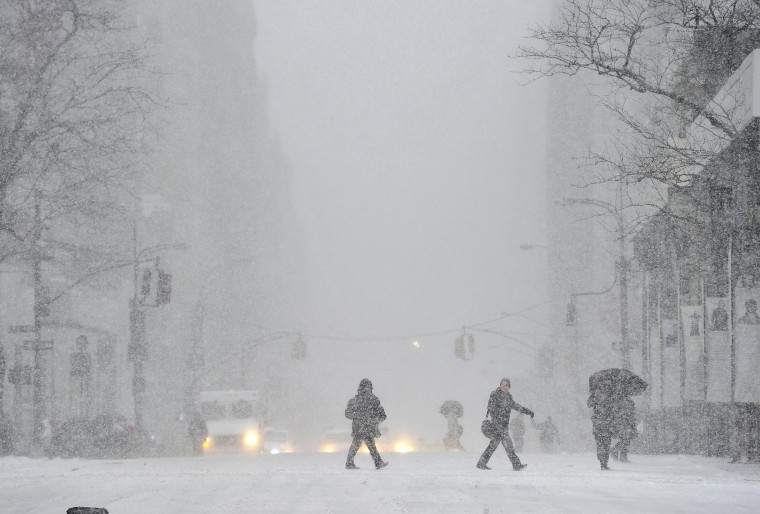 Image: A view down 5th Avenue in the snow as New Yorkers get hit with a winter storm