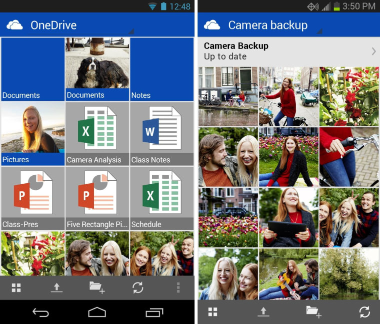 OneDrive and its camera backup feature on Android.