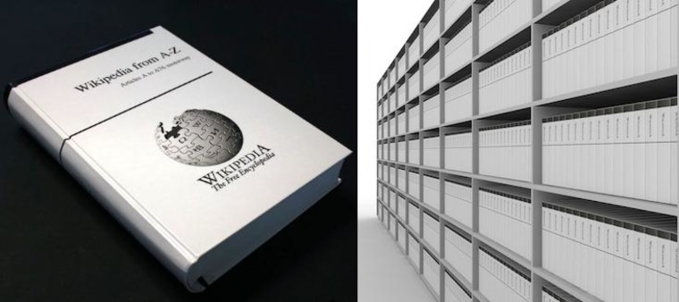 More than a thousand books of the size shown would be required to get all of Wikipedia printed.