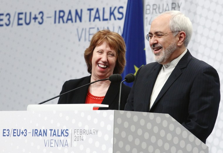 Image: European Union foreign policy chief Ashton and Iranian Foreign Minister Zarif share a laugh during a press statement after a conference in Vienna