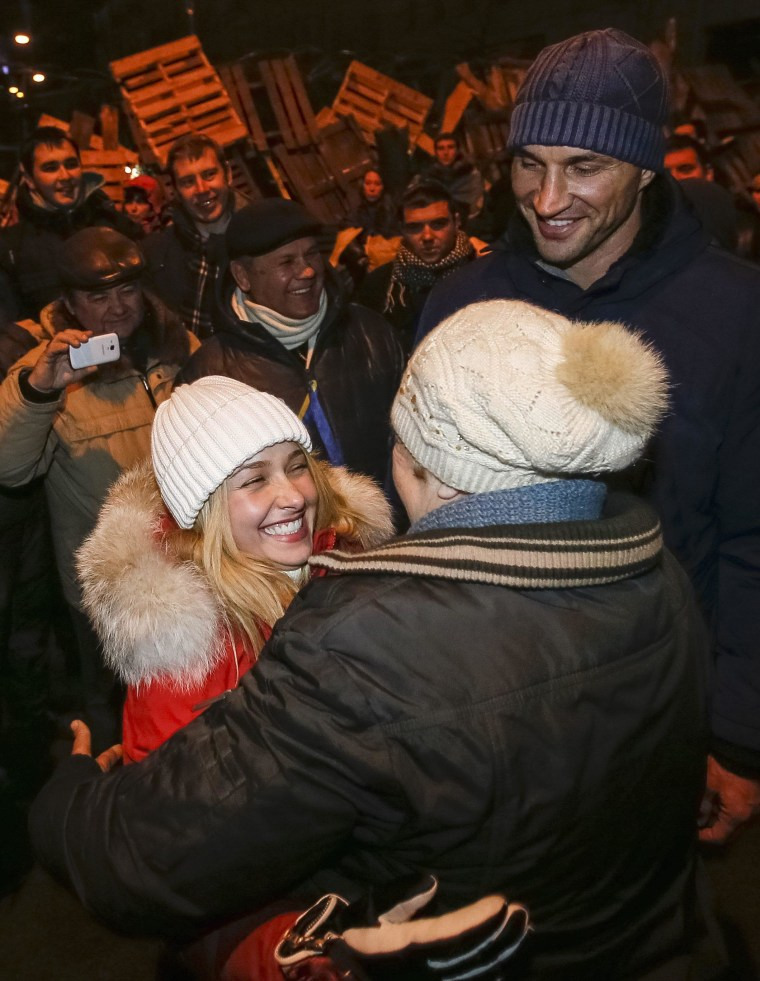 Image: Actress Hayden Panettiere at a rally in Kiev on Dec. 7